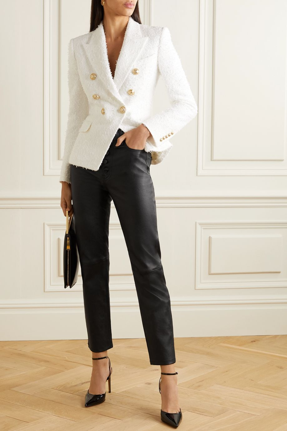 Balmain Double-breasted bouclé-tweed blazer