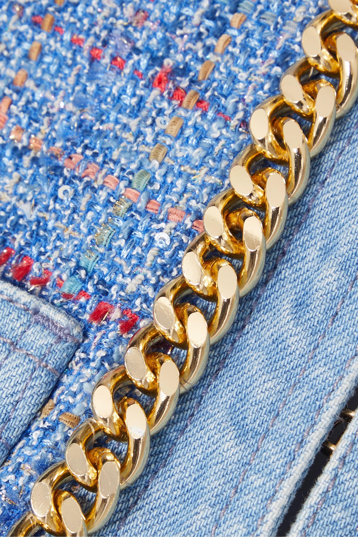 Balmain Chain-embellished cotton-tweed and denim blazer