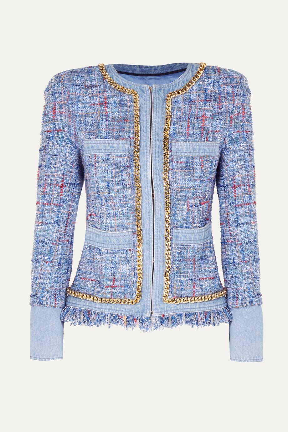 Balmain Chain-embellished cotton-tweed and denim blazer