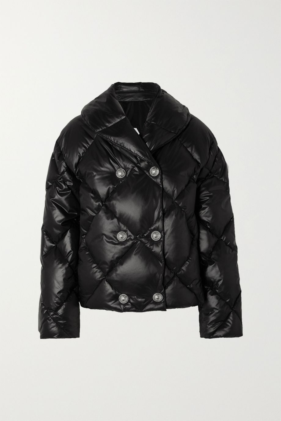 Balmain Double-breasted quilted shell down jacket