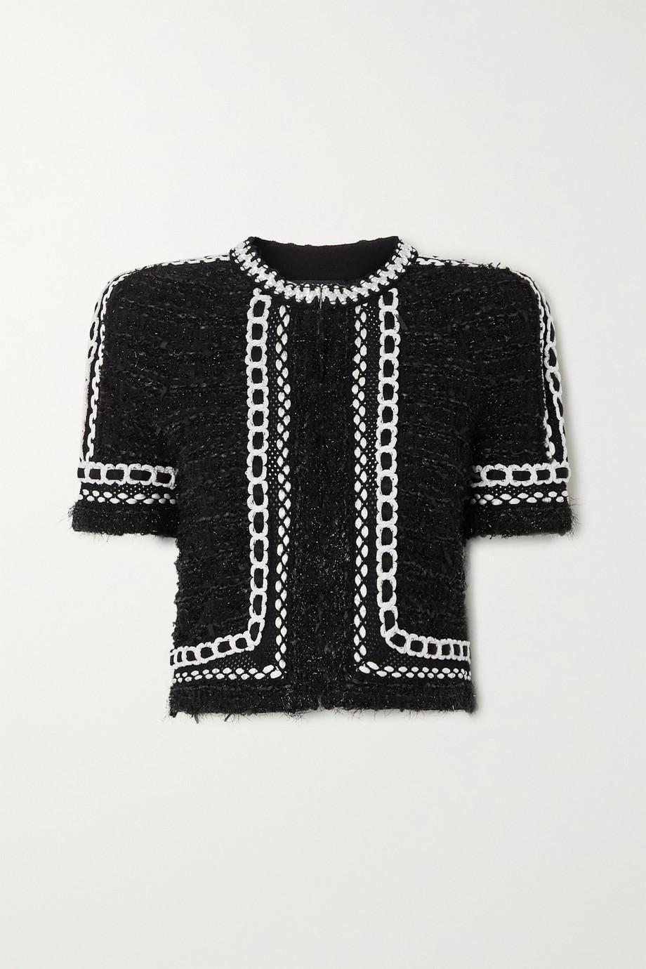 Balmain Cropped embroidered metallic tweed jacket