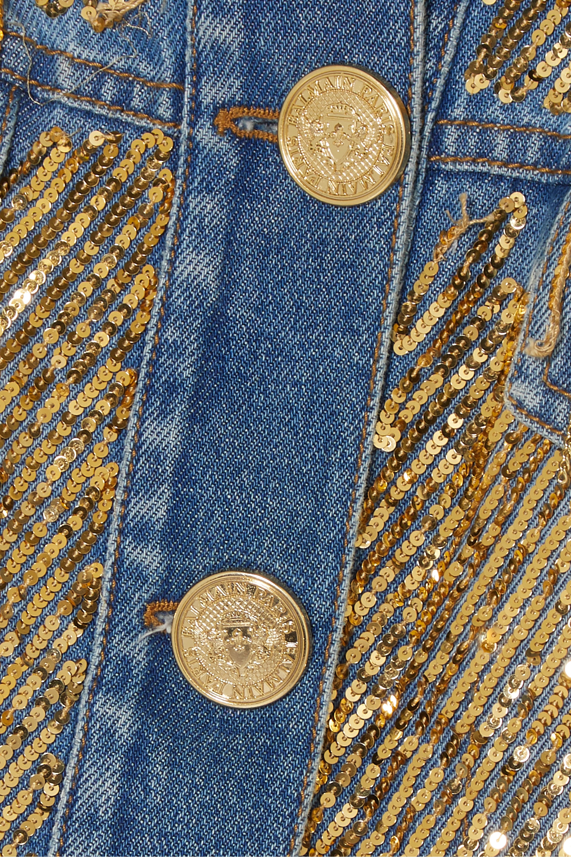Balmain Cropped embellished distressed denim jacket