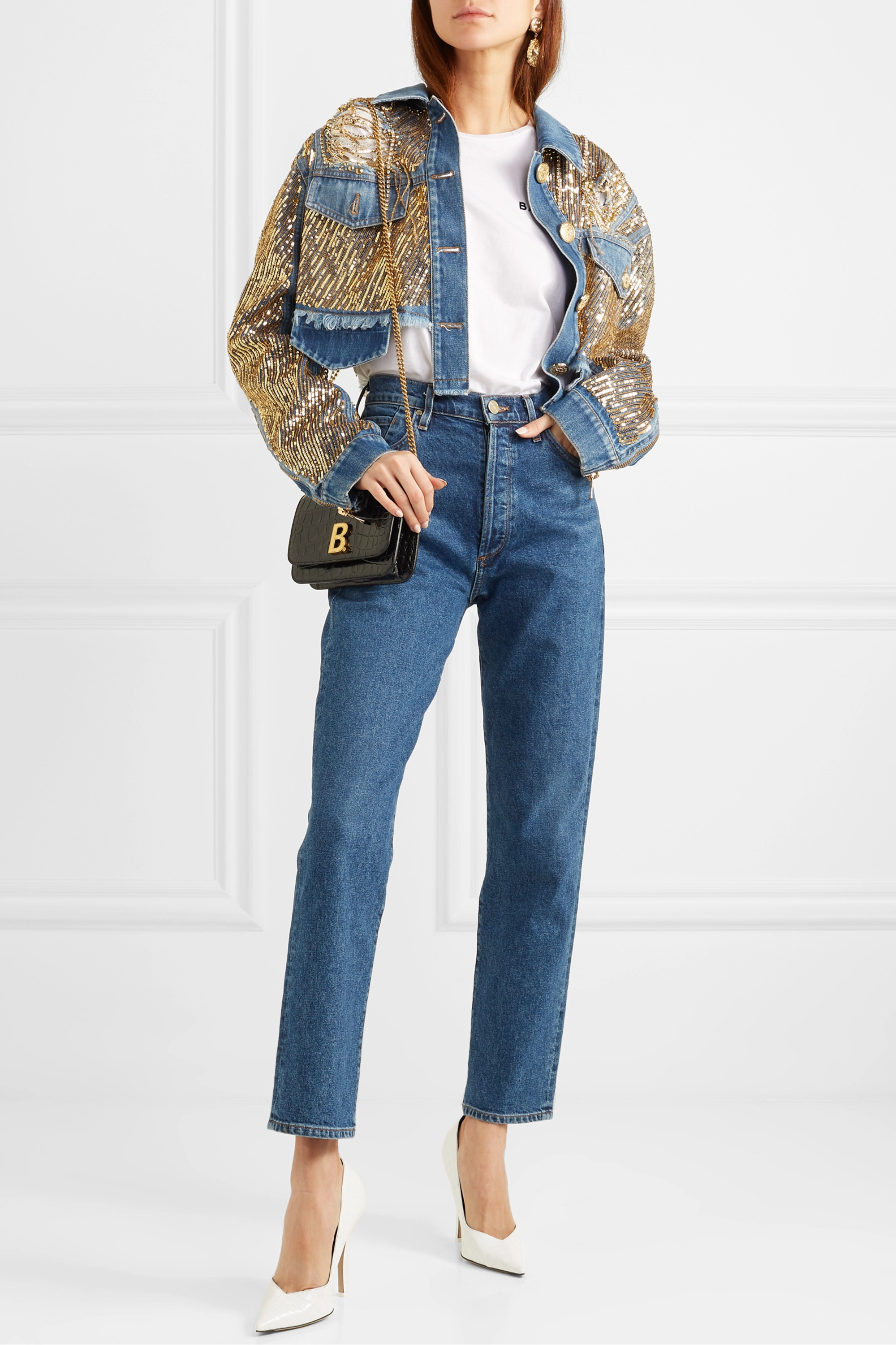 Balmain Cropped embellished distressed denim jacket