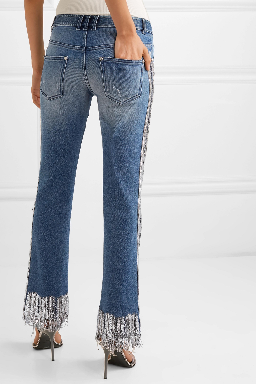 Balmain Fringed embellished mid-rise straight-leg jeans