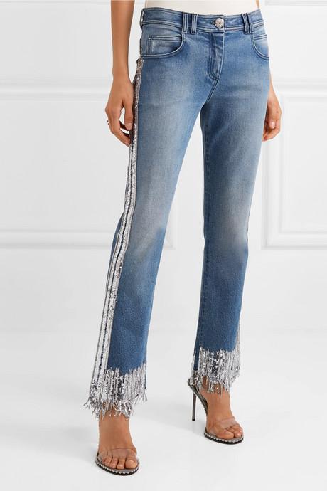 Fringed embellished mid-rise straight-leg jeans