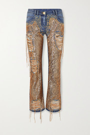 Balmain Embellished distressed high-rise straight-leg jeans
