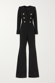 Balmain Button-embellished wool-twill jumpsuit