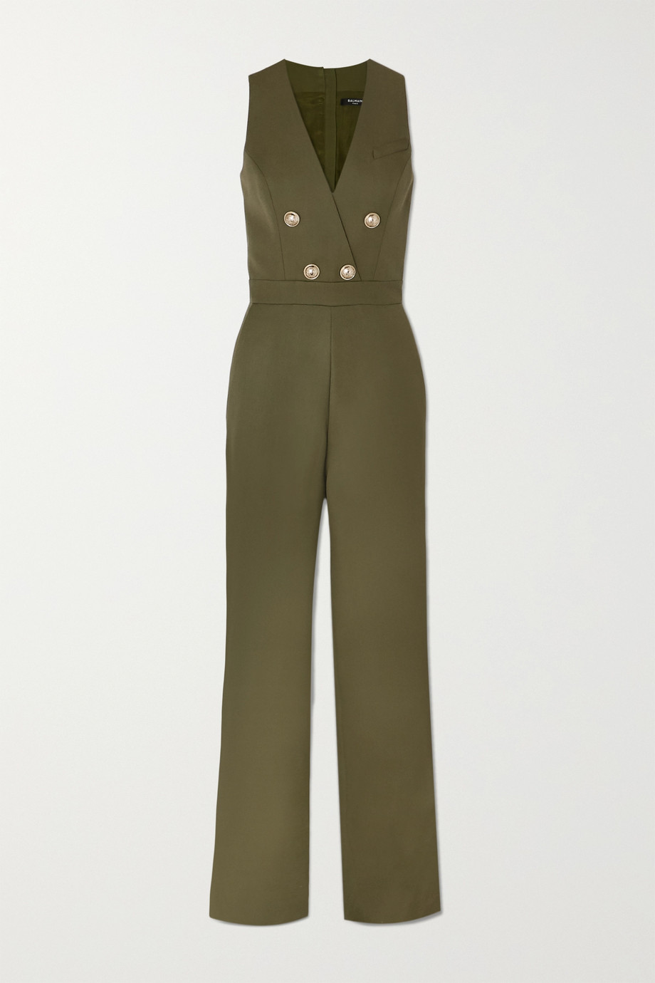 Balmain Buttoned-embellished wool jumpsuit