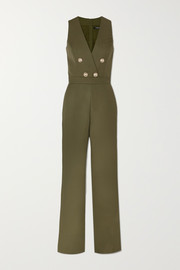 Buttoned-embellished wool jumpsuit