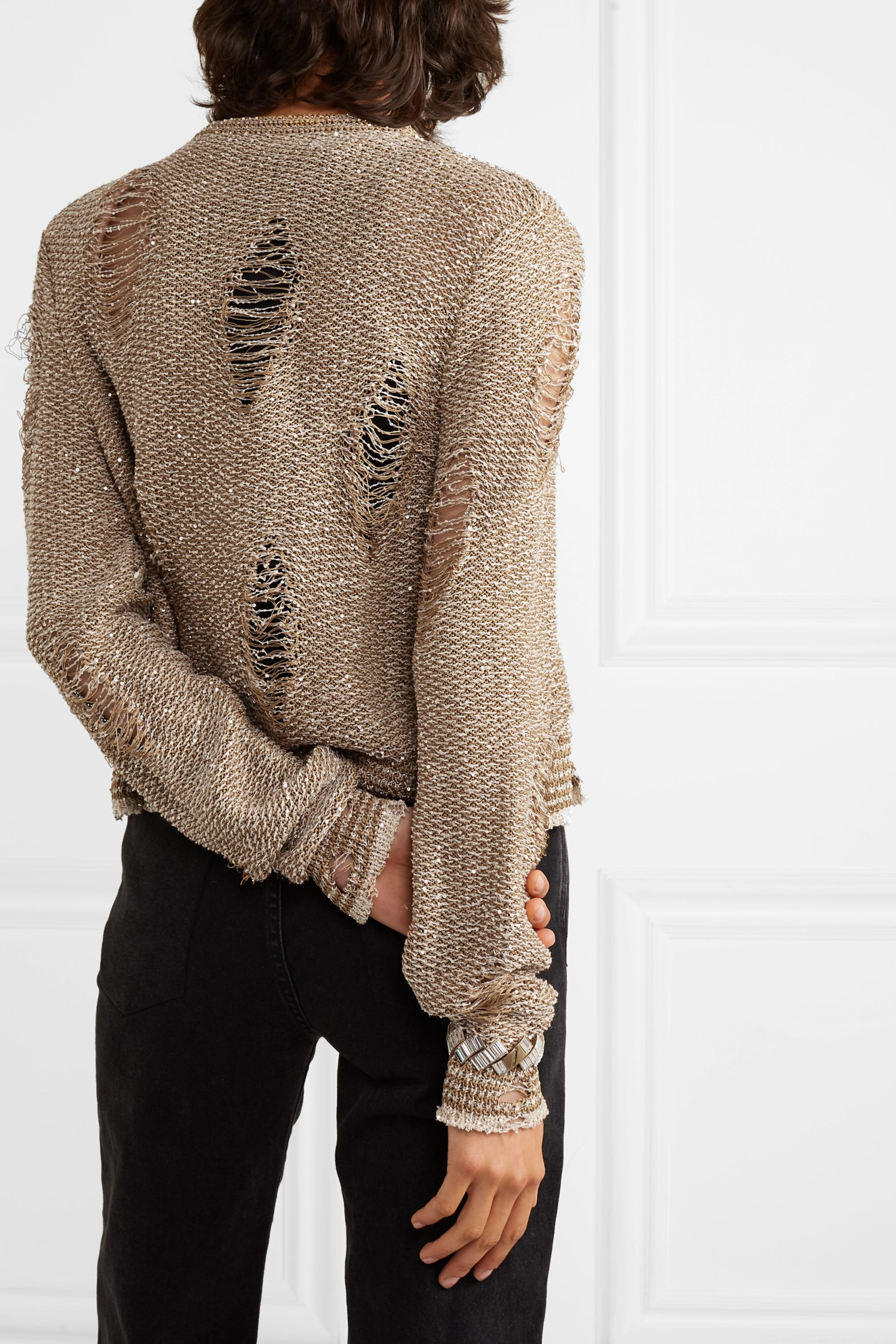 Balmain Distressed sequin-embellished knitted cardigan