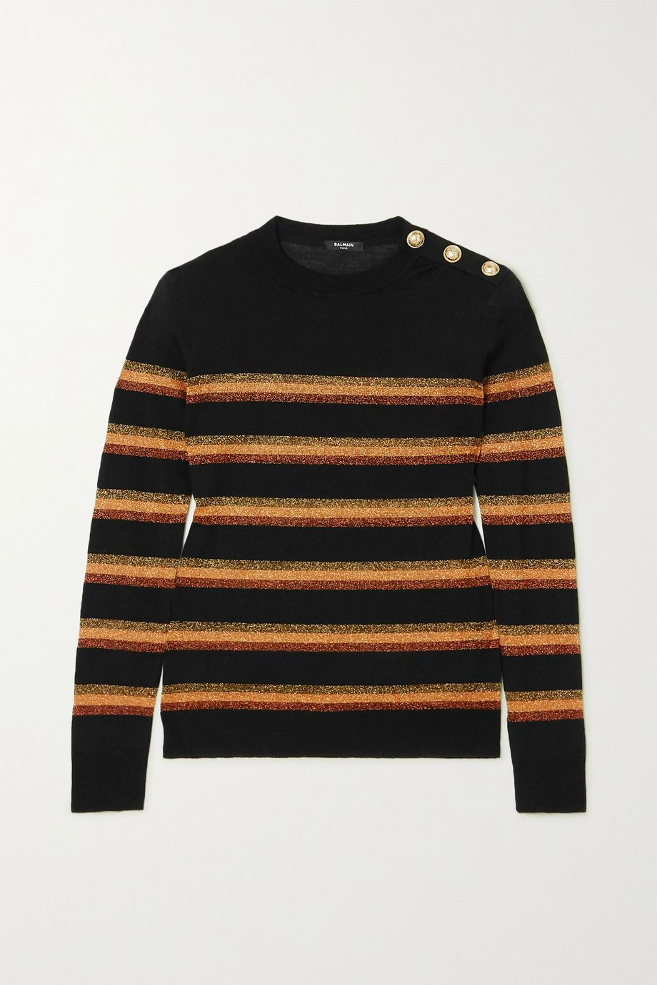 Balmain Button-embellished Lurex-trimmed wool sweater