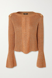 Balmain Button-embellished metallic cable-knit sweater