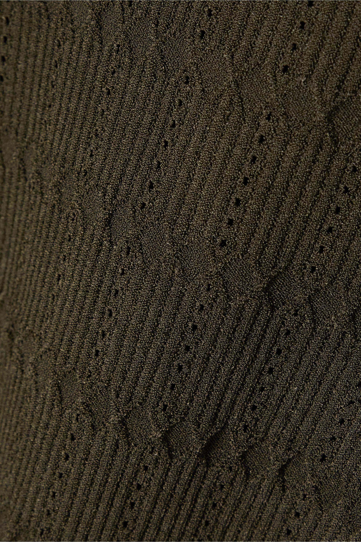 Balmain Pullover aus Jacquard-Strick mit Pointelle-Besatz und Zierknöpfen