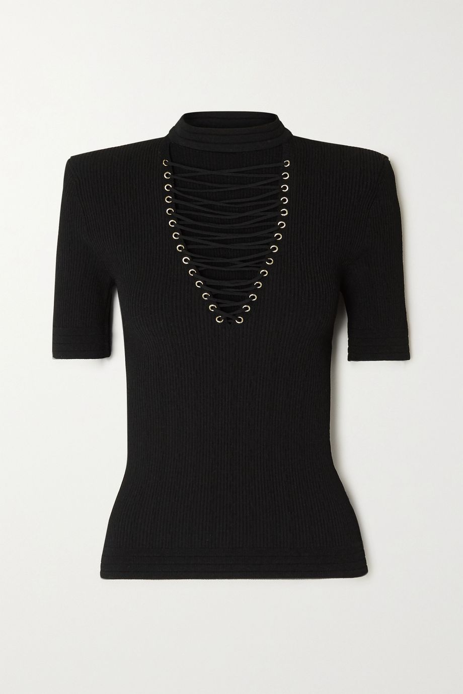 Balmain Lace-up ribbed-knit top