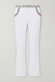 Balmain Cropped crystal-embellished stretch-crepe flared pants