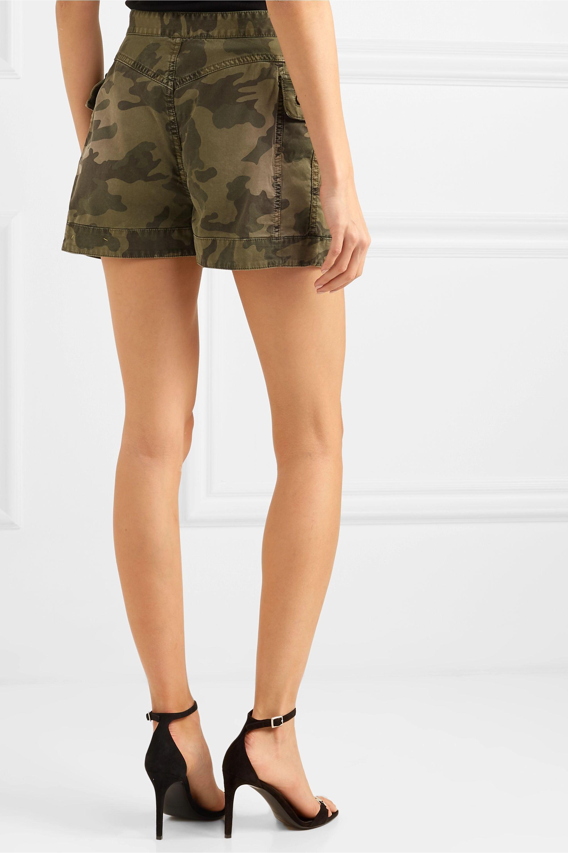 Balmain Button-embellished camouflage-print cotton-blend shorts