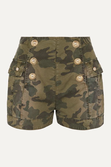 Balmain Shorts Button-embellished camouflage-print cotton-blend shorts