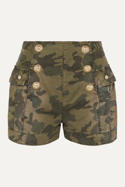 Button-embellished camouflage-print cotton-blend shorts