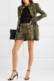 Balmain Button-embellished camouflage-print cotton-blend shorts