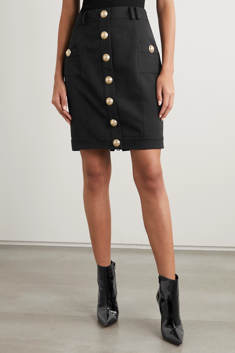 Button-embellished wool-twill skirt