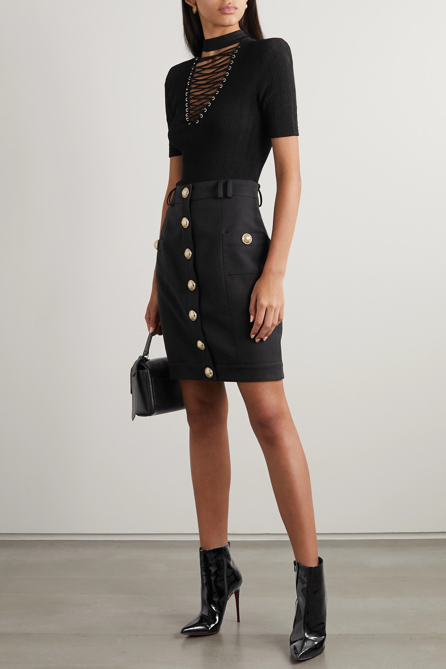 Balmain Button-embellished wool-twill skirt