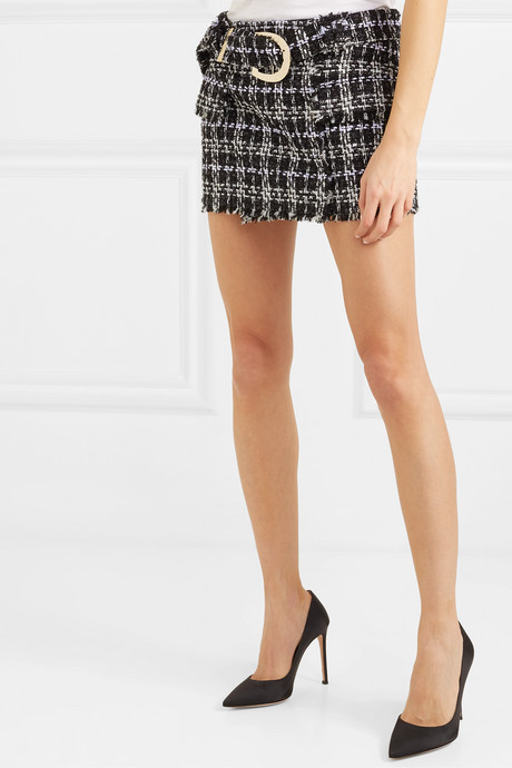 Belted bouclé-tweed mini skirt