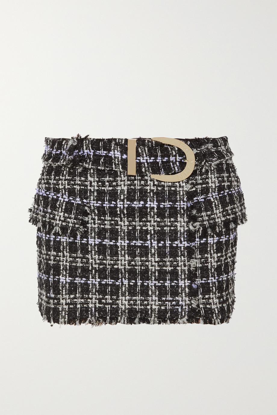 Balmain Belted bouclé-tweed mini skirt