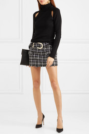 Balmain Belted bouclé-tweed mini skirt