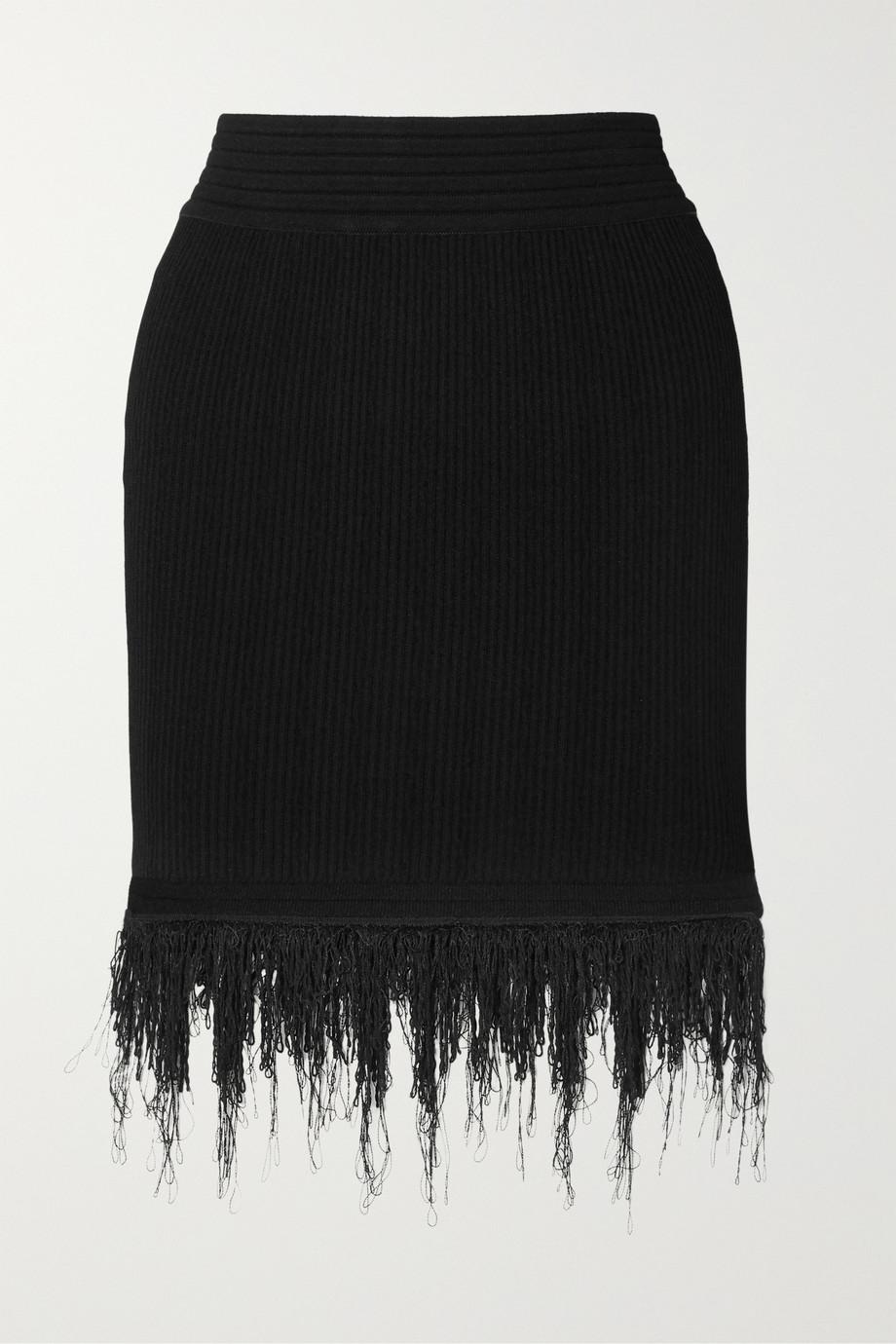 Balmain Fringed ribbed-knit mini skirt