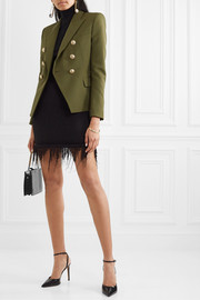 Balmain Fringed ribbed-knit mini skirt