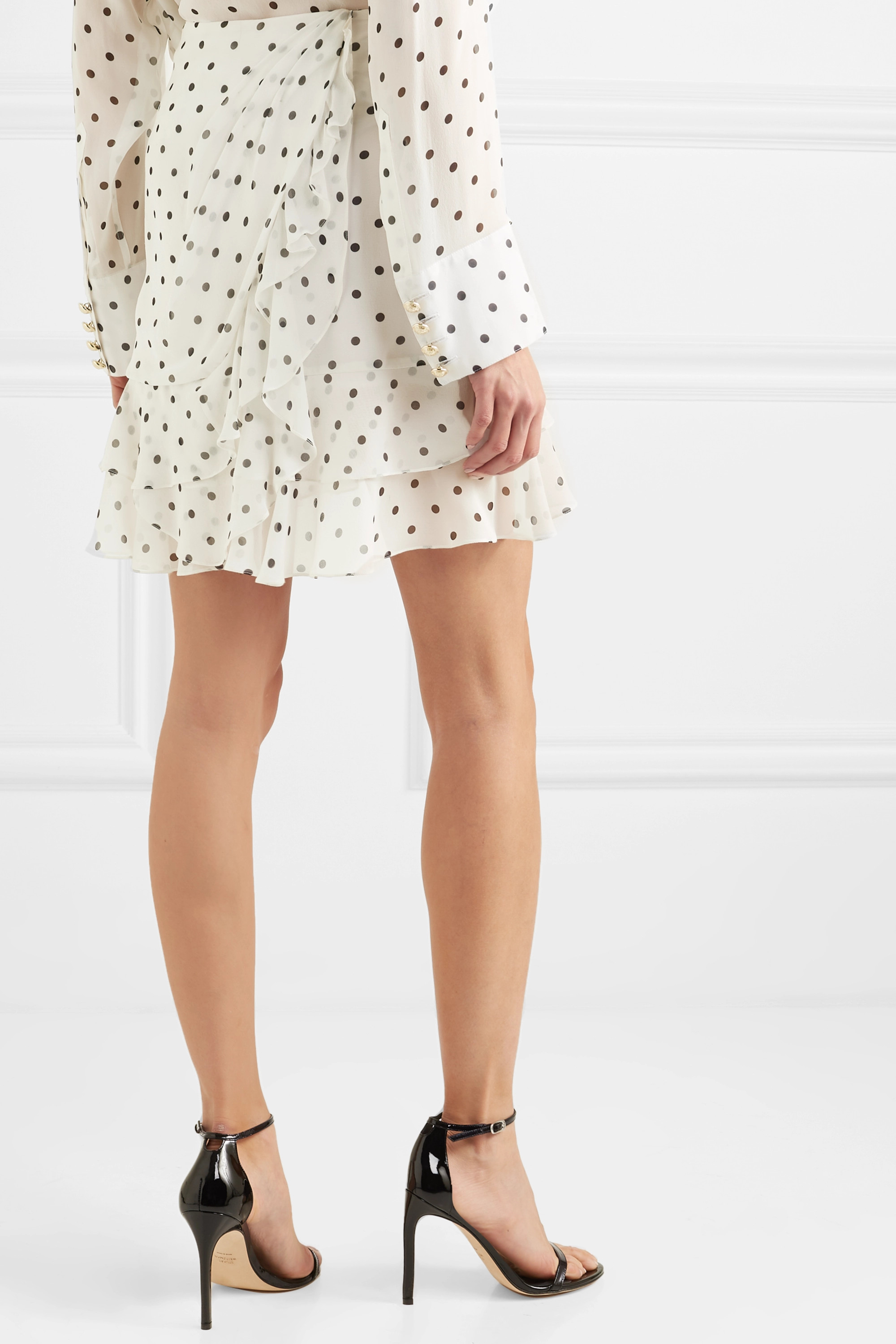 Balmain Ruffled polka-dot silk-georgette mini skirt