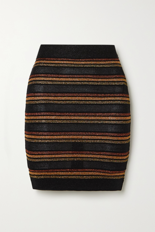 Balmain Striped wool and metallic knitted mini skirt