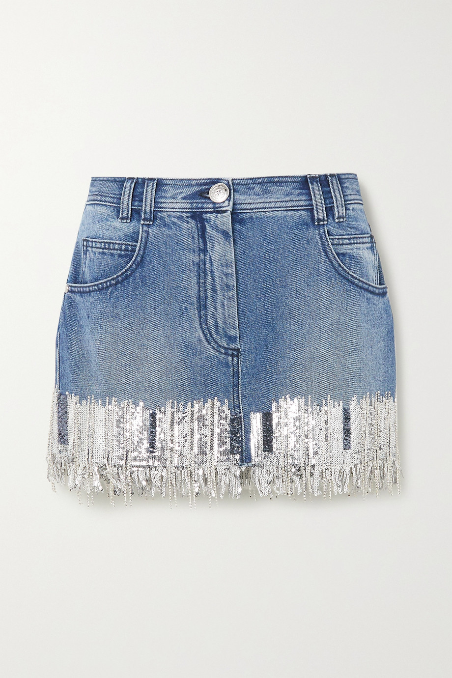 Balmain Fringed sequined denim mini skirt