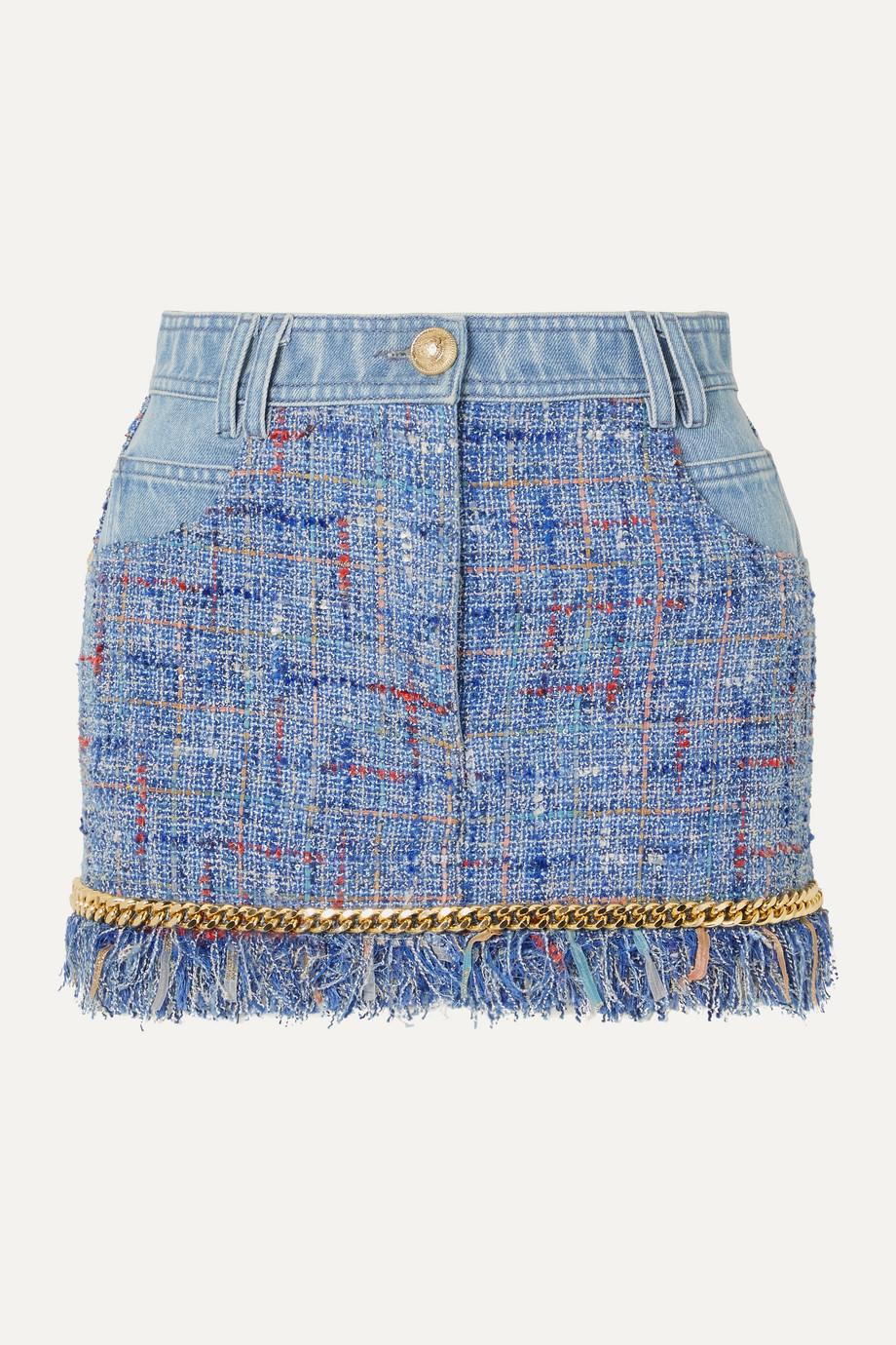 Balmain Chain-embellished cotton-tweed and denim mini skirt