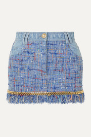 Chain-embellished cotton-tweed and denim mini skirt