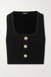 Balmain Cropped button-embellished ribbed stretch-knit top