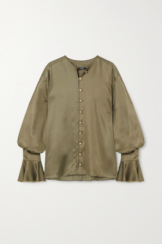 Balmain Ruffled satin blouse