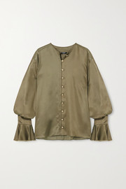 Balmain Blouse en satin à volants