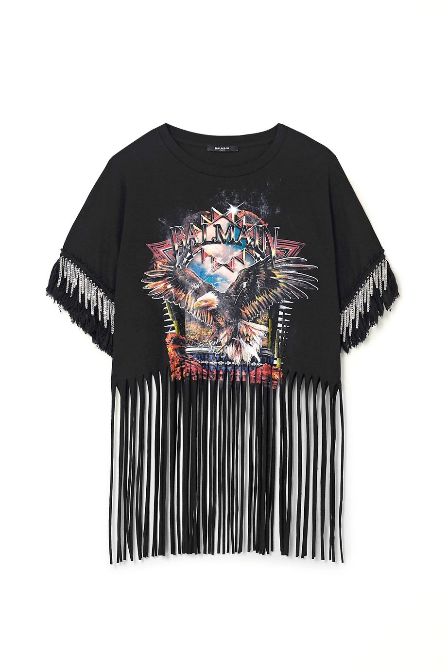 Balmain Fringed embellished printed cotton-jersey T-shirt
