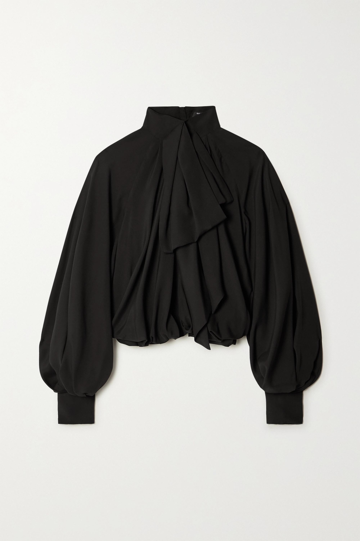 Balmain Pussy-bow gathered silk blouse