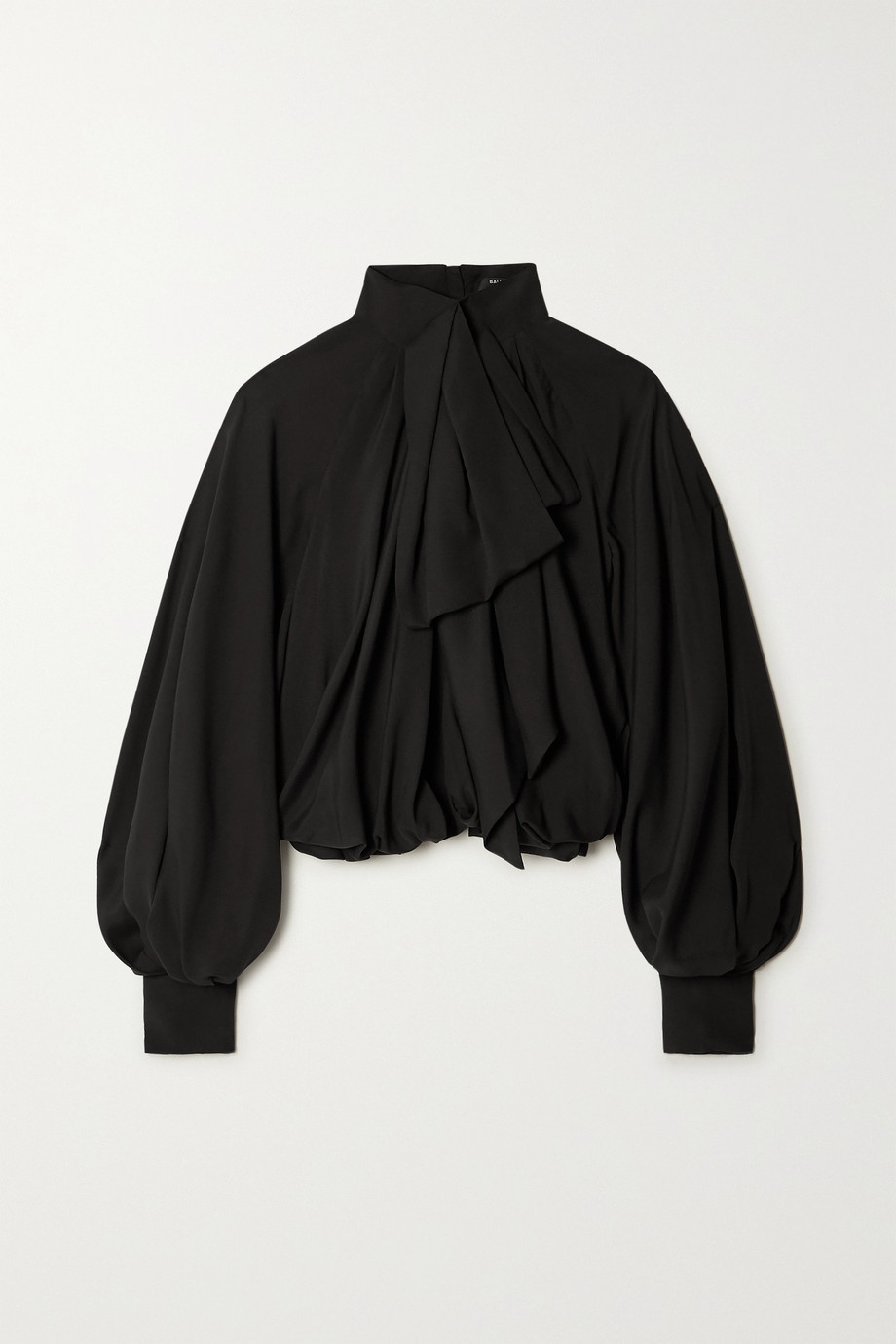 Balmain Pussy-bow gathered silk blouse