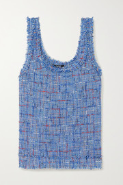 Frayed embellished metallic tweed tank