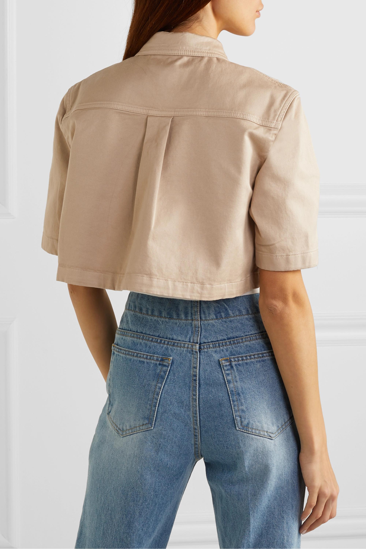 Balmain 棉质混纺卡其布短款衬衫
