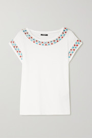Crystal-embellished cotton-jersey top