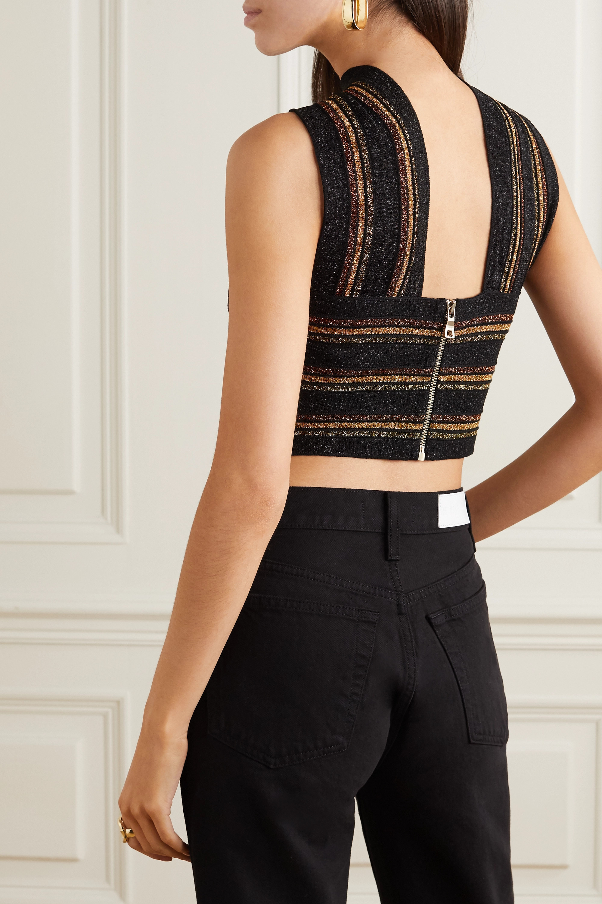 Balmain Cropped cutout striped wool and metallic knitted top