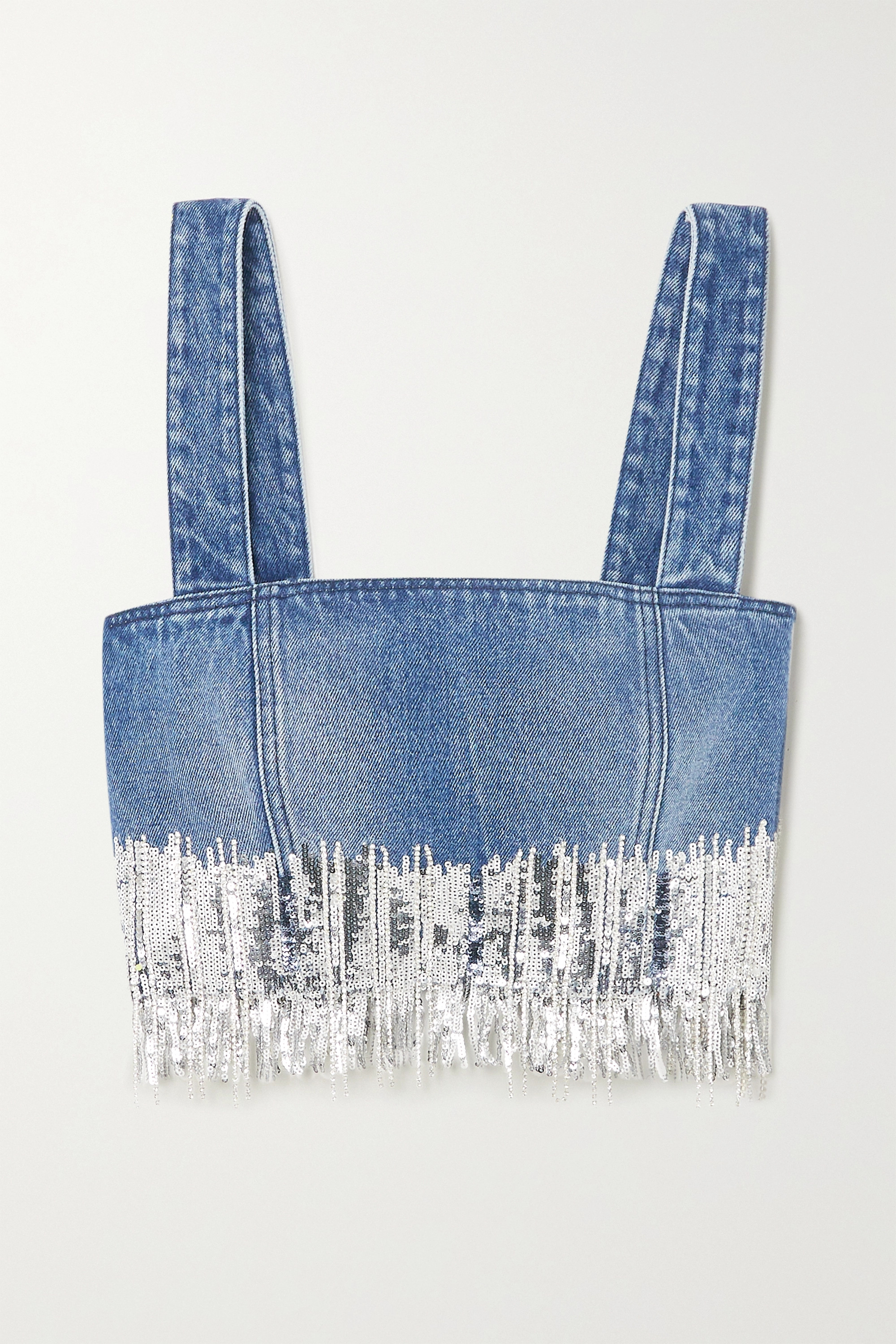 Balmain Cropped fringed sequined denim top