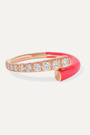 Lola 18-karat rose gold, diamond and enamel ring