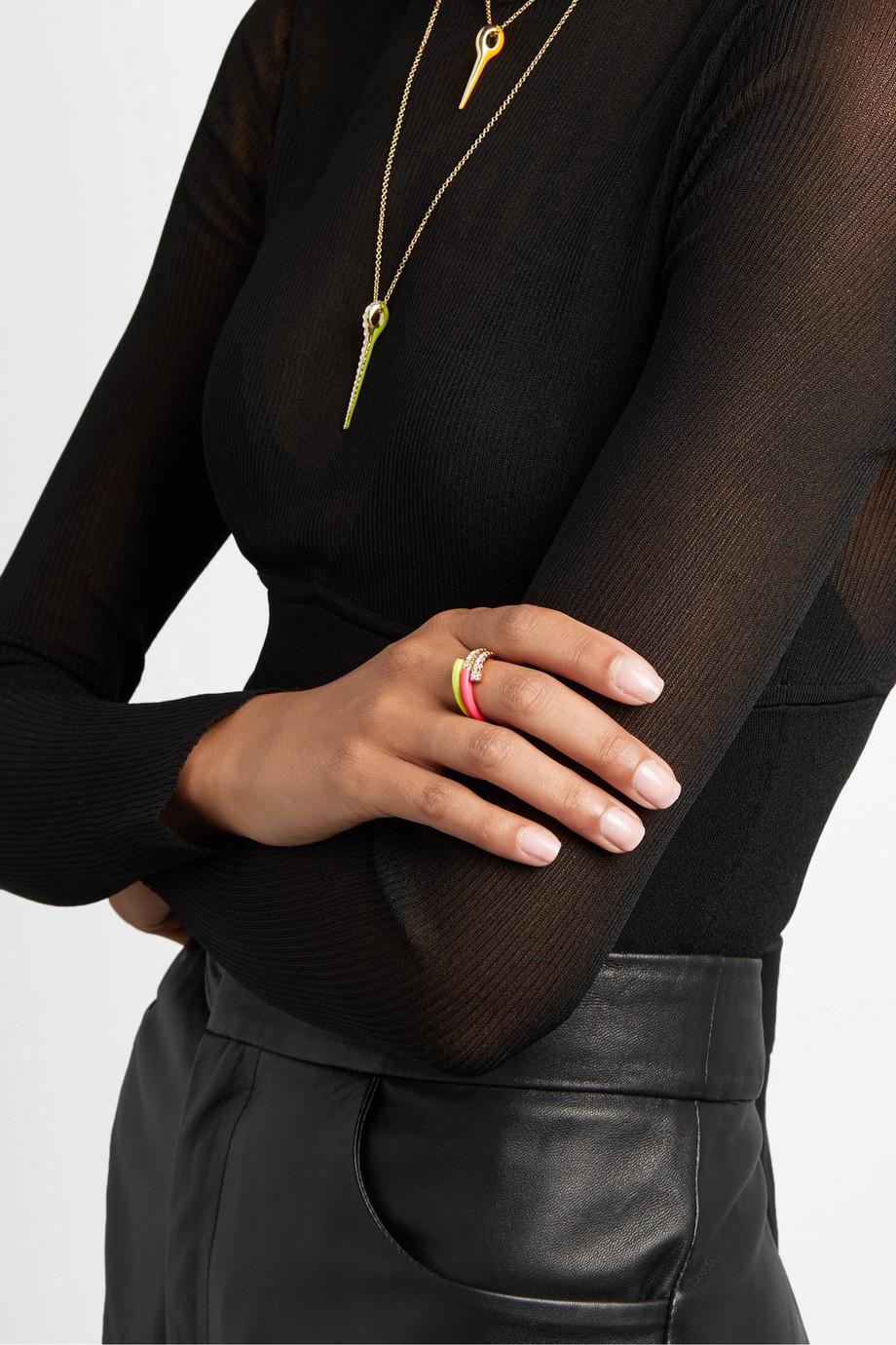 Melissa Kaye Lola Ring aus 18 Karat Roségold mit Diamanten und Emaille