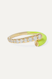 Lola 18-karat gold, diamond and enamel ring