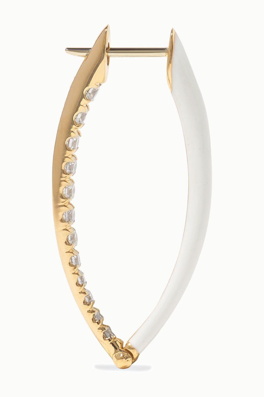 Melissa Kaye Boucles d'oreilles en or 18 carats, émail et diamants Cristina medium